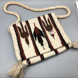 Vintage handmade cream carpet tassel flap bag